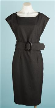 Sale 9071F - Lot 87 - A CHARCOAL ZARA DRESS with round neck & waist belt with buckle size M