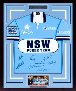 Sale 9130S - Lot 86 - A NSW 2009 State Of Origin Poker Team of Victorian championship signed Jersey  Frame Size 104cm x 87cm
