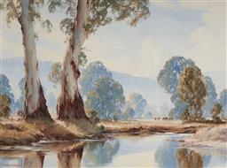 Sale 9133 - Lot 555 - Gerard Mutsaers (1947 - ) Warriors of the Yarra River oil on board 90 x 120.5 cm (frame: 112 x 141 x 7 cm) signed lower left