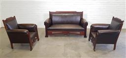 Sale 9146 - Lot 1092 - Tasmanian arts & craft blackwood 3 piece lounge suite of 2 armchairs & 2 seater (h91 x w163 x d68cm)