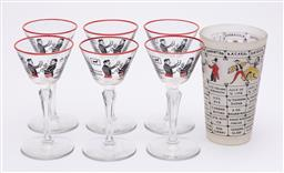 Sale 9170H - Lot 74 - A pressed glass cocktail drink suite for six, including a mixing glass with cocktail recipes