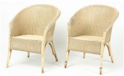 Sale 9199J - Lot 79 - A pair of white Lloyd Loom armchairs, Height 72 x Width 54cm