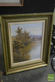 Sale 8537 - Lot 2046 - Pat Murphy, Willy Wag Tails at Cotter Dam, oil on board, frame size: 57 x 46cm, signed lower left