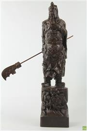 Sale 8586 - Lot 89 - Carved Timber Warrior Figure ( H 47cm)
