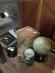 Sale 8582 - Lot 2451 - Group of Miscellaneous Items incl Wooden Graduating Food Containers, Vintage World Globe etc