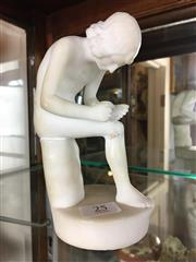 Sale 8730B - Lot 25 - Marble Figure of a Boy Removing a Thorn from his Foot H: 14cm (Restoration to knee)