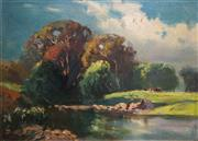 Sale 8781A - Lot 5065 - William Delafield Cook (1861 - 1931) - Pastoral, Heidelberg, Victoria, c1900 34.5 x 44.5cm