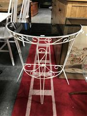 Sale 8822 - Lot 1209 - Metal Side Table with Black Glass Top