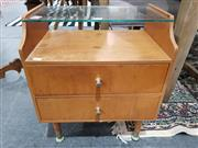 Sale 8889 - Lot 1046 - Retro Bedside with Glass Top & Two Drawers