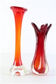 Sale 8944 - Lot 21 - Art Glass Stemmed Vases H:33cm