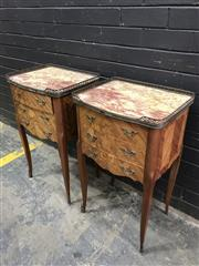 Sale 9048 - Lot 1004 - Pair of Louis XVI Style Marquetry Bedside Cabinets, with brass gallery, marble top & three drawers with tied ribbon floral motif (H7...