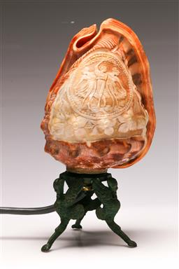 Sale 9122 - Lot 29 - A Cameo Shell Lamp (H: 22cm)