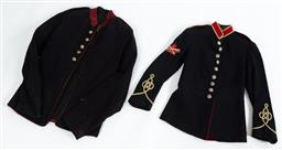 Sale 9130E - Lot 43 - An Australian Colonial NSW military forces black uniform jacket with white piping to sleeves, nine buttons to front, eight to back,...