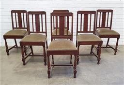 Sale 9137 - Lot 1099 - Set of 6 oak art deco dining chairs (h:93 x w:40 x d:40cm)