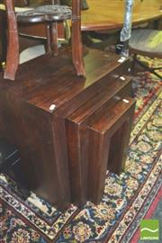 Sale 8371 - Lot 1039 - Timber Nest of 3 Tables