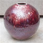 Sale 8489A - Lot 55 - A Col Levy art pottery tenmoku glaze on copper red, H 40cm