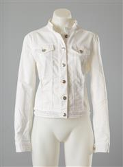 Sale 8661F - Lot 35 - A Betty Barclay cropped white denim jacket, with fringed panels and embroidered hem, size GB10