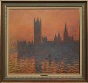 Sale 8695 - Lot 2006 - Claude Monet - Houses of Parliament London Print 68 x 75cm