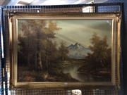 Sale 8824 - Lot 2065 - Mountain Scene Painting by Unknown Artist