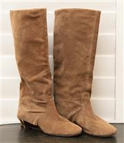 Sale 8902H - Lot 152 - A pair of Italian pale suede fully lined boots, size 37