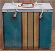 Sale 8984H - Lot 79 - An impressive vintage Esky with zinc lined interior and striped canvas lined exterior. Height 46 x width 33cm