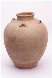 Sale 9015C - Lot 759 - Plain earthenware brown vessel with lugs (H36cm)