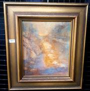 Sale 9061 - Lot 2011 - Charles Pettuiger, Misty Sunset, Glennies Creek, oil on canvas board, frame: 41 x 37 cm, signed lower right