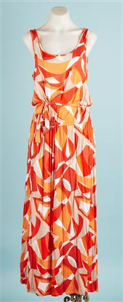 Sale 9071F - Lot 13 - A MICHAEL KORS SLEEVELESS MAXI DRESS; in orange, white and taupe geometric design. size M