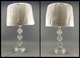 Sale 9108 - Lot 1060 - A Pair of Cut Glass Table Lamps (H 60cm)