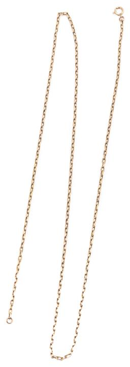 Sale 9160 - Lot 348 - A 9CT GOLD CHAIN; 2mm wide square cable link chain to bolt ring clasp, length 62cm, wt. 6.89g.
