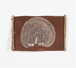 Sale 9195 - Lot 568 - THOMPSON ULIDJIRI Echidna natural pigments on bark 25 x 38 cm labelled verso