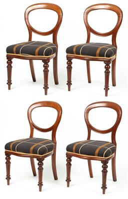 Sale 9199J - Lot 80 - Four matching Victorian balloon back dining chairs in very good order, the padded seats upholstered in a broad windowpane material w...