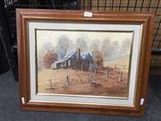 Sale 8767 - Lot 2017 - John Vander (1947 - ) - Rising Mist, Cessnock, oil on canvas board, frame size : 38.5 x 48cm, signed lower left
