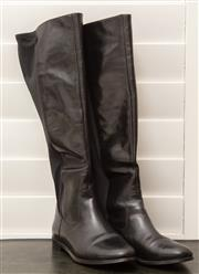 Sale 8902H - Lot 126 - A pair of Mimco black leather knee high flat boots
