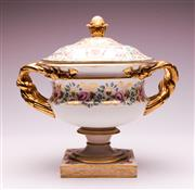 Sale 9081 - Lot 89 - Early Derby Lidded Urn with Gilt and Floral Decoration (H: 31cm W:25cm Repaired)