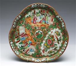 Sale 9093P - Lot 54 - Late Qing Famille Rose Tray with Court Scenes and Birds, w. 27cm.