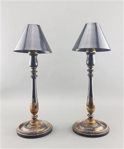 Sale 9108 - Lot 1006 - Pair of Oriental turned timber candle sticks (h:37cm)