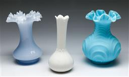 Sale 9153 - Lot 69 - A Fenton blue glass vases (2) (H: 20cm), together with a Doulton example (H: 20cm)
