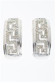 Sale 8293 - Lot 303 - A PAIR OF 9CT WHITE GOLD DIAMOND EARRINGS; half hoop clips with pierced key pattern set with single cut diamonds, wt. 5.5g.