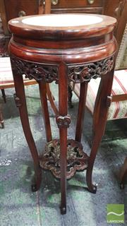 Sale 8375 - Lot 1015 - Chinese Rosewood Jardiniere Stand, with white marble top