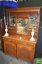 Sale 8390 - Lot 1105 - Late Victorian Carved Oak Sideboard w Mirror Back