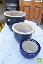Sale 8390 - Lot 1370 - Three Graduating Blue Glazed Planters