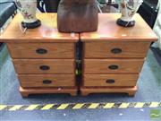 Sale 8412 - Lot 1038 - Pair of Timber Bedsides with Three Drawers