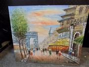 Sale 8429A - Lot 2043 - Artist Unknown Paris Street Scene 51 x 61 Signed Bennett Bottom Right