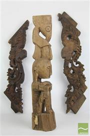Sale 8490 - Lot 118 - Early Timber Carved Fretwork Together With Carved Figure