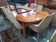 Sale 8593 - Lot 1100 - Nine Piece Dining Suite inc Table and 8 Chairs with 2 Carvers