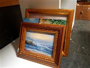 Sale 8682 - Lot 2094 - 4 Small Works incl 2 Seaside Works, a Town Scene & a Farm Scene