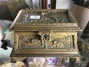 Sale 8730B - Lot 28 - Gilt Bronze Jewellery Casket Depicting Wildlife W: 20cm