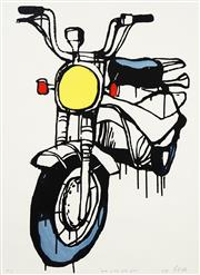 Sale 8738 - Lot 525 - Jasper Knight (1978 - ) - Hand Painted Honda Postie, 2019 77 x 55.5cm (frame: 91 x 70cm)