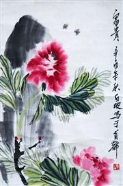 Sale 8781A - Lot 5068 - Chinese School - Wildflowers & Insects 66 x 44cm